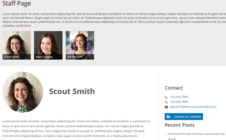 Staff Page Example